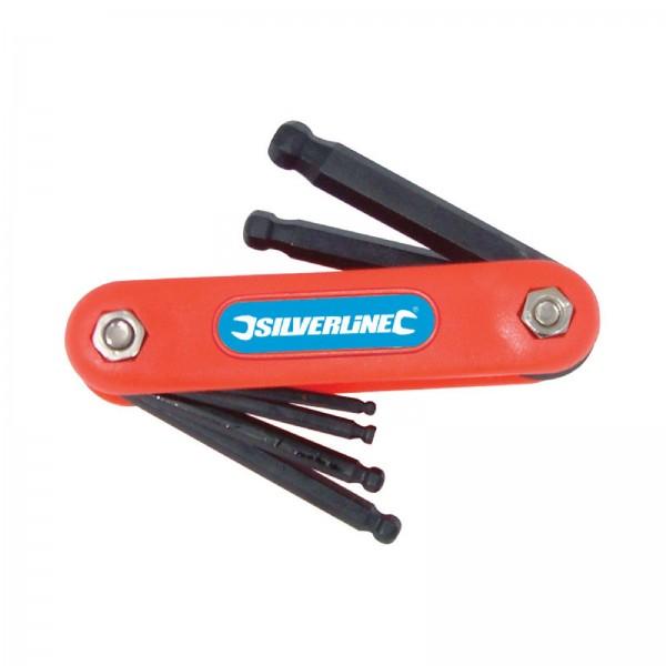 Silverline - Innensechskantschlüssel-Klappwerkzeug mit Kugelkopf, 7-tlg. Satz