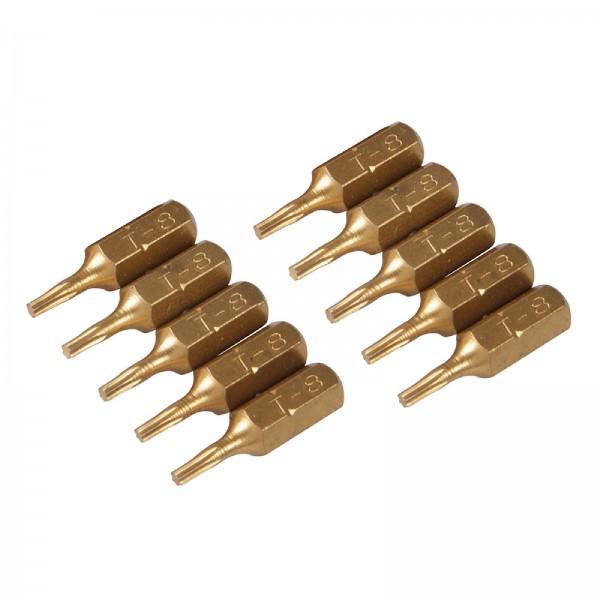 Silverline - T8-Schraubendrehereinsätze, Gold-Bits, 10er-Pckg.