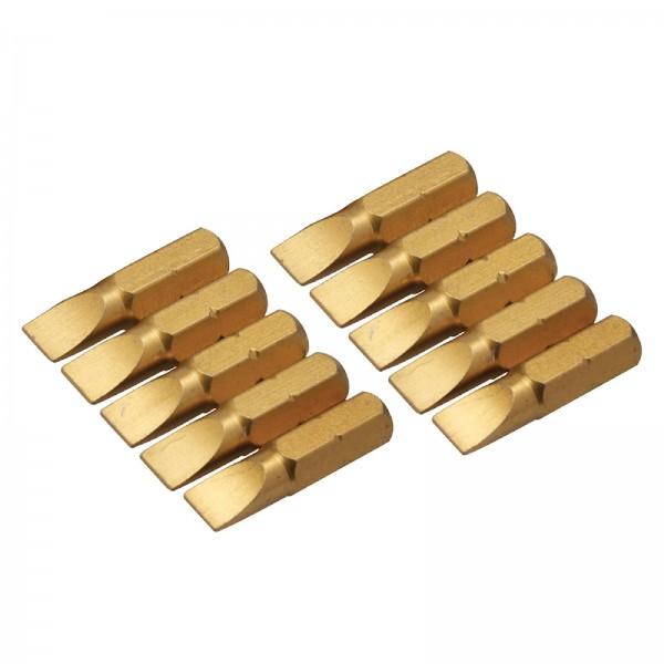 Silverline - Schlitz-Schraubendreher-Gold-Bits, 10er-Pckg.