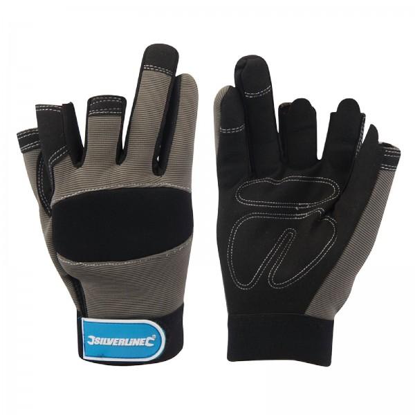 Silverline - Mechanikerhandschuhe, teilweise fingerlos