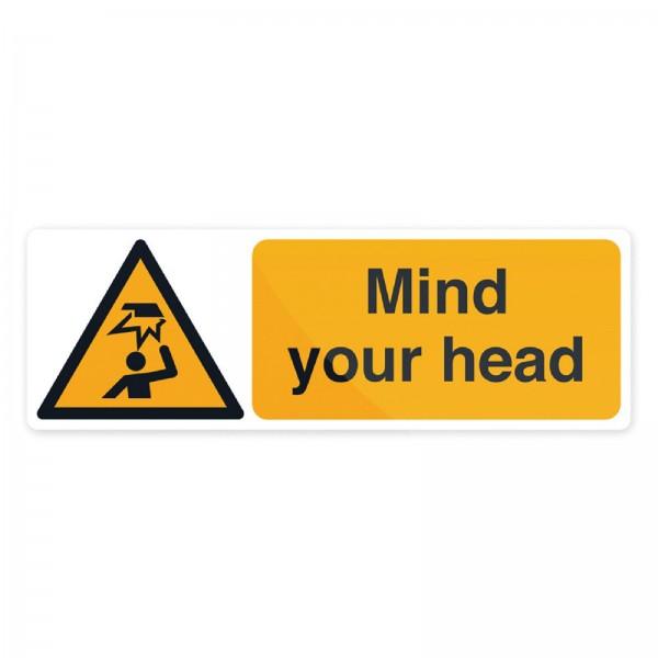 Fixman - Warnschild über Gefahren im Kopfbereich