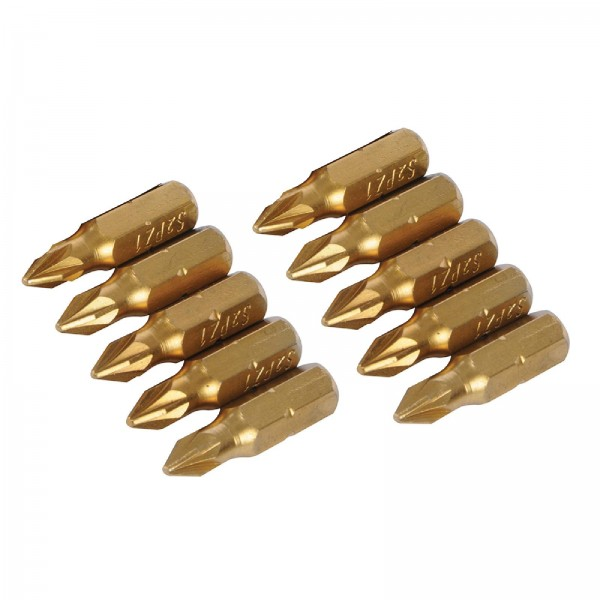 Silverline - Pozidriv-Schraubendreher-Gold-Bits, 10er-Pckg.