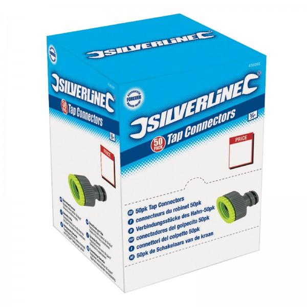 Silverline - Hahnanschlussstücke, 1/2 und 3/4 Zoll, Verkaufsdisplay, 50 Stck.