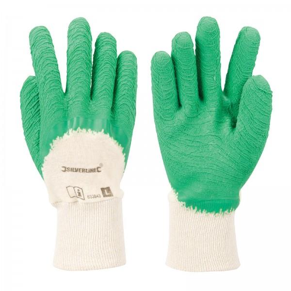 Silverline - Schrumpfgerauhte Schutzhandschuhe mit 3/4-Latexbeschichtung