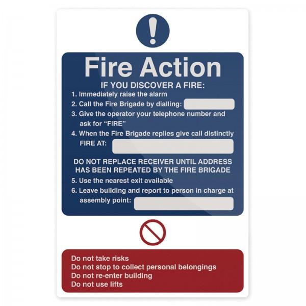 Fixman - Hinweistafel mit Maßnahmen im Brandfall