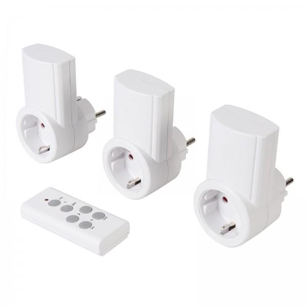 Funksteckdosen mit Fernbedienung, 230 V, 3er-Pckg. Für EU-Steckdosen, 13 A, 230 V